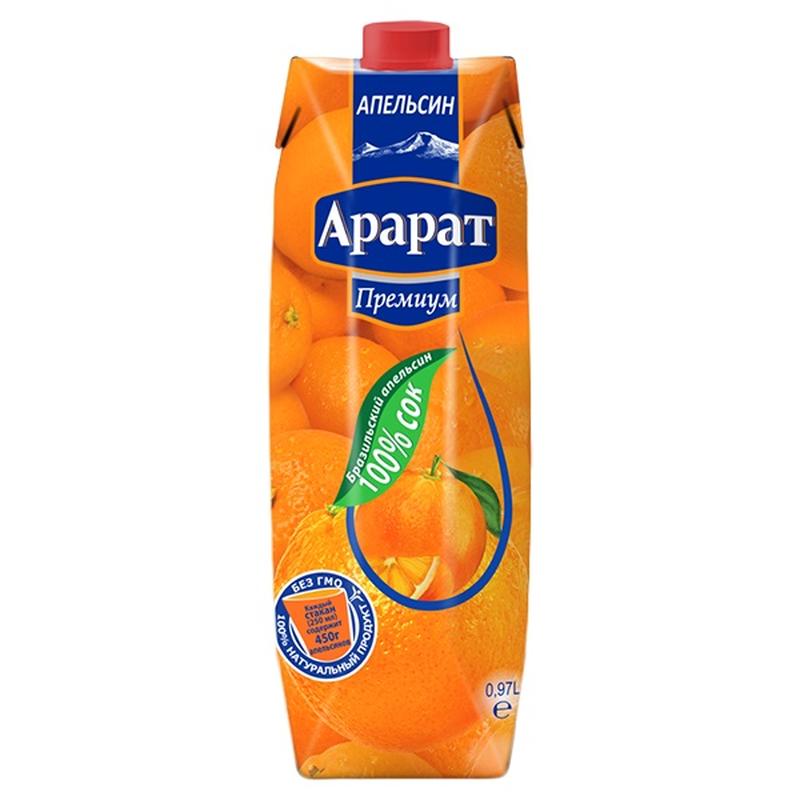 Апельсиновый сок из бразильского апельсина Ararat Premium 0.97 л photo