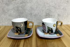 Глиняная чашка для кофе с блюдцем NC002