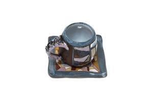 Глиняная чашка для кофе с блюдцем AB007
