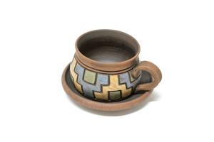 Глиняная чашка для кофе с блюдцем BD002